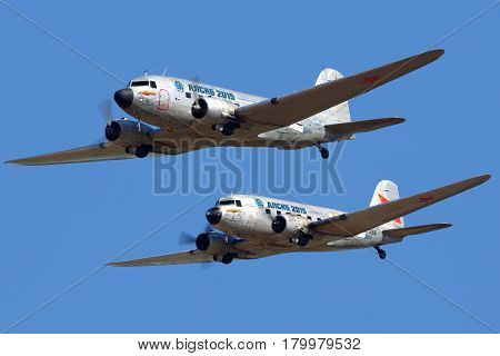 ZHUKOVSKY, MOSCOW REGION, RUSSIA - AUGUST 20, 2015: Pair DC-3 shown at MAKS-2015 airshow in Zhukovsky.