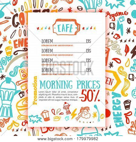 Bistro menu with coffee pattern on background in bright sketch style, hand drawn vector illustration.