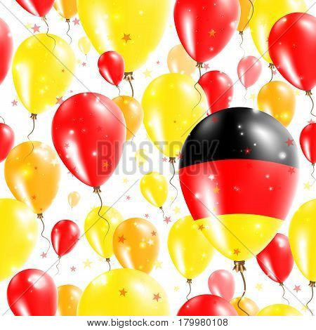 Germany Independence Day Seamless Pattern. Flying Rubber Balloons In Colors Of The German Flag. Happ