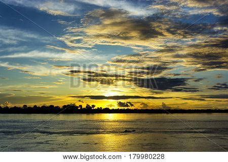 Sunset over the Amazon River near Leticia Colombia