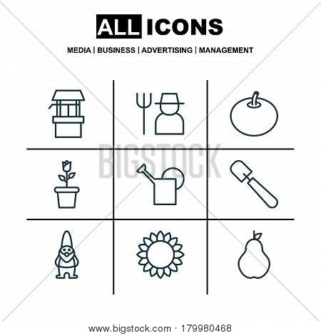 Set Of 9 Agriculture Icons. Includes Dwarf, Water Source, Floret And Other Symbols. Beautiful Design Elements.