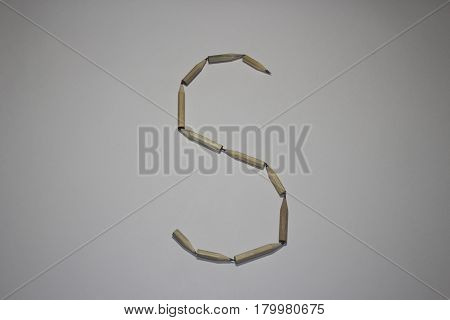 Alphabet symbol - letter S pencil on white background