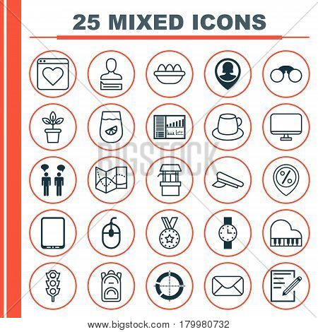 Set Of 25 Universal Editable Icons. Can Be Used For Web, Mobile And App Design. Includes Elements Such As Control Device, Octave, Distributed Pie Chart And More.