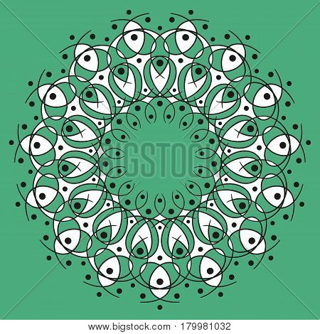 black and white round symmetry pattern on green background