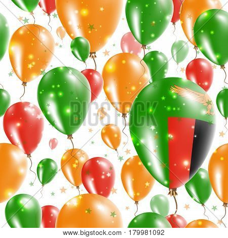 Zambia Independence Day Seamless Pattern. Flying Rubber Balloons In Colors Of The Zambian Flag. Happ