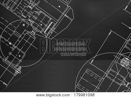 Blueprints. Mechanics. Cover. Mechanical Engineering drawing. Engineering design construction. Black