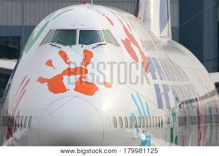 VNUKOVO, MOSCOW REGION, RUSSIA - OCTOBER 23, 2015: Transaero Boeing 747 in Hope Flight livery taxiing at Vnukovo international airport.
