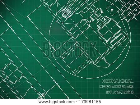 Mechanical Engineering drawing. Blueprints. Mechanics. Light green. Grid