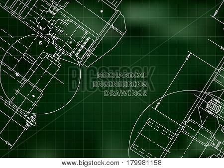 Blueprints. Mechanics. Cover. Mechanical Engineering drawing. Engineering design construction. Green. Grid