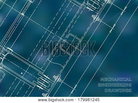 Mechanical Engineering drawing. Blueprints. Mechanics. Cover. Engineering design construction. Blue