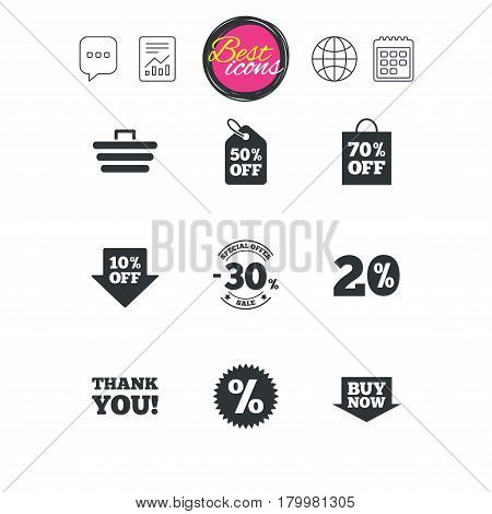 Chat speech bubble, report and calendar signs. Sale discounts icon. Shopping cart, coupon and buy now signs. 20, 30 and 50 percent off. Special offer symbols. Classic simple flat web icons. Vector