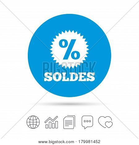 Soldes - Sale in French sign icon. Star with percentage symbol. Copy files, chat speech bubble and chart web icons. Vector