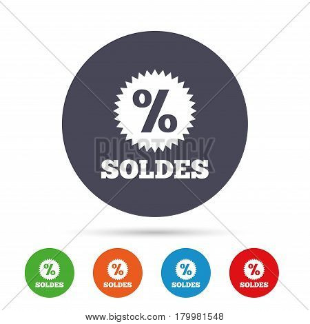Soldes - Sale in French sign icon. Star with percentage symbol. Round colourful buttons with flat icons. Vector