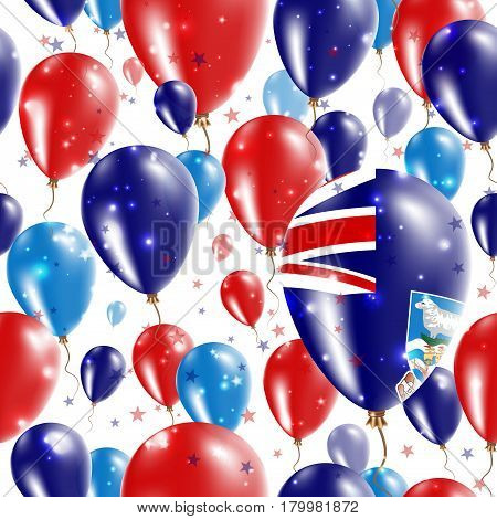 Falklands Independence Day Seamless Pattern. Flying Rubber Balloons In Colors Of The Falkland Island