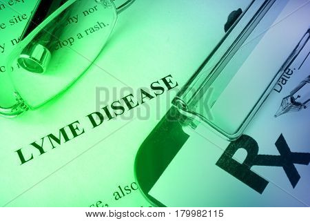Diagnosis Lyme disease written on a page. Medical concept.