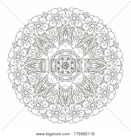 Oriental pattern coloring. Traditional round ornament. Mandala. Turkey Egypt Islam. Relaxing picture. Doodle drawing