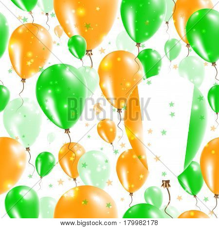 Ivory Coast Independence Day Seamless Pattern. Flying Rubber Balloons In Colors Of The Ivorian Flag.