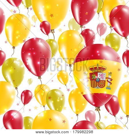 Spain Independence Day Seamless Pattern. Flying Rubber Balloons In Colors Of The Spanish Flag. Happy