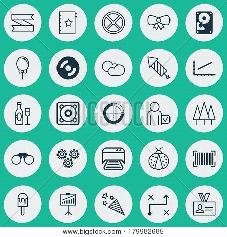 Set Of 25 Universal Editable Icons. Can Be Used For Web, Mobile And App Design. Includes Elements Such As Cloud Cumulus, Identification Code, Balloon And More.