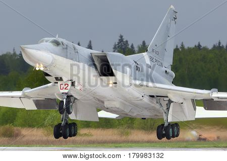 KUBINKA, MOSCOW REGION, RUSSIA - MAY 18, 2015: Tupolev Tu-22M3R bomber landing at Kubinka air force base.