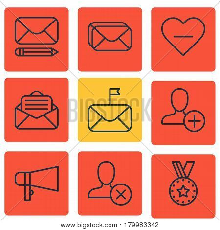 Set Of 9 Social Network Icons. Includes Read Message, Significant Letter, Medal And Other Symbols. Beautiful Design Elements.