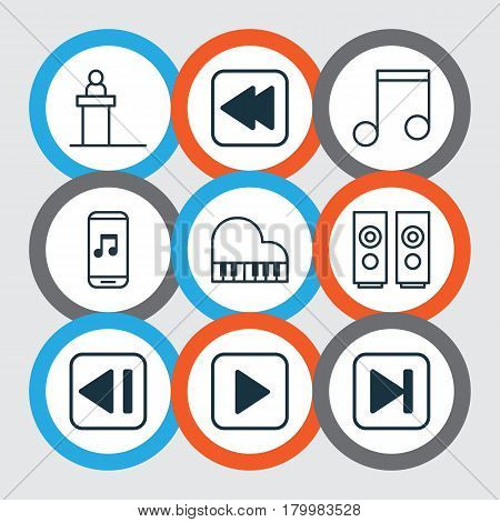 Set Of 9 Audio Icons. Includes Start Song, Note, Octave And Other Symbols. Beautiful Design Elements.