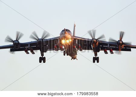 ZHUKOVSKY, MOSCOW REGION, RUSSIA - NOVEMBER 7, 2015: Tupolev Tu-95MSM with eight cruise missiles perfoming test flight in Zhukovsky.