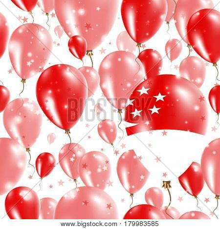 Singapore Independence Day Seamless Pattern. Flying Rubber Balloons In Colors Of The Singaporean Fla
