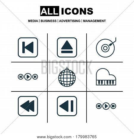 Set Of 9 Audio Icons. Includes Last Song, Music Control, Audio Buttons And Other Symbols. Beautiful Design Elements.