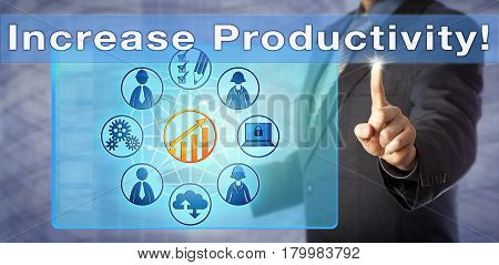 Blue chip business coach is urging to Increase Productivity! Business management metaphor and information technology concept for an improvement of the efficiency of production processes.