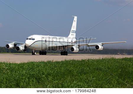 KUBINKA, MOSCOW REGION, RUSSIA - JUNE 2, 2013: Open Skies Boeing OC-135B at Kubinka air force base.