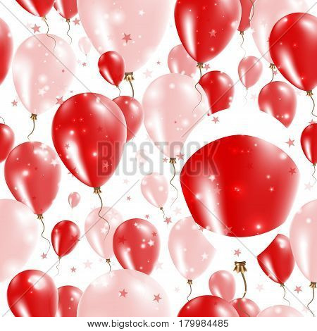 Japan Independence Day Seamless Pattern. Flying Rubber Balloons In Colors Of The Japanese Flag. Happ