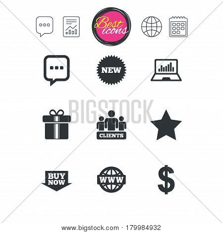 Chat speech bubble, report and calendar signs. Online shopping, e-commerce and business icons. Gift box, chat message and star signs. Chart, dollar and clients symbols. Classic simple flat web icons