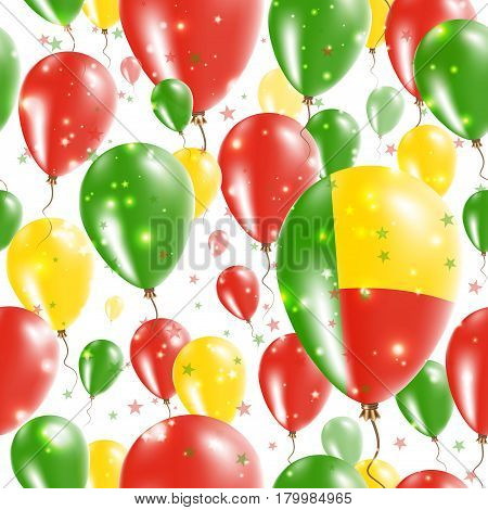 Benin Independence Day Seamless Pattern. Flying Rubber Balloons In Colors Of The Beninese Flag. Happ