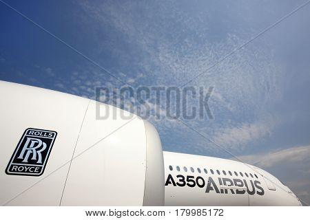 SHEREMETYEVO, MOSCOW REGION, RUSSIA - JUNE 3, 2014: Airbus A350 standing at Sheremetyevo international airport.