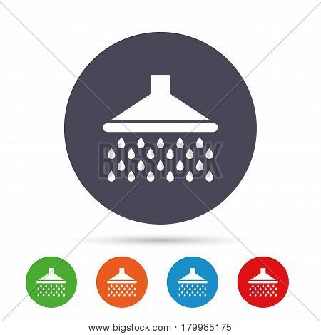 Shower sign icon. Douche with water drops symbol. Round colourful buttons with flat icons. Vector