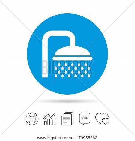Shower sign icon. Douche with water drops symbol. Copy files, chat speech bubble and chart web icons. Vector