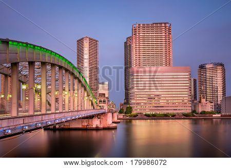 Kachidoki Bridge and Sumida River in the Evening Tokyo Japan