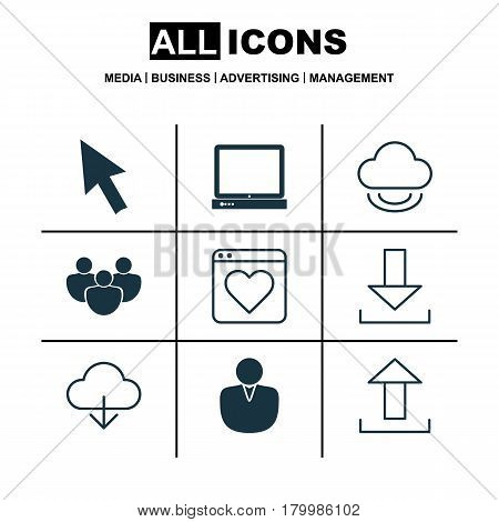 Set Of 9 World Wide Web Icons. Includes Virtual Storage, Account, PC And Other Symbols. Beautiful Design Elements.