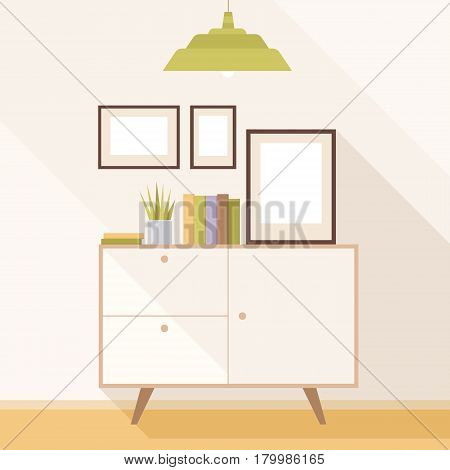 Illustration of a modern living room with Cabinet and paintings Interior with classic furniture. Flat design, minimalist style. Vector Illustrator.