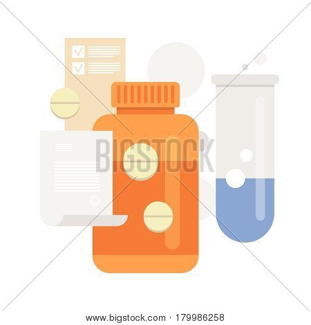 Pills and drug medicaments in flat style. Medical recipe. Vector illustration.