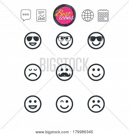 Chat speech bubble, report and calendar signs. Smile icons. Happy, sad and wink faces signs. Sunglasses, mustache and laughing lol smiley symbols. Classic simple flat web icons. Vector