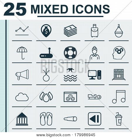 Set Of 25 Universal Editable Icons. Can Be Used For Web, Mobile And App Design. Includes Elements Such As Dollar Banknote, Note, Education Center And More.
