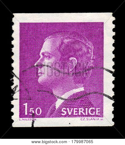 SWEDEN - CIRCA 1980: a stamp printed in the Sweden shows King Carl XVI Gustaf, King of Sweden, series, circa 1980