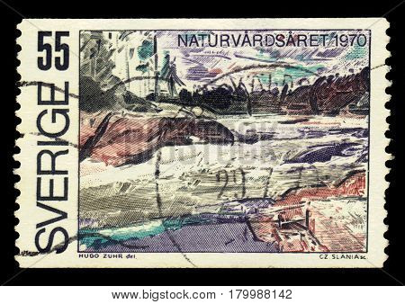 SWEDEN - CIRCA 1970: a stamp printed in the Sweden shows swedish landscape, series European Nature Conservation Year, circa 1970