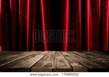 Red curtains and old vintage wooden table.
