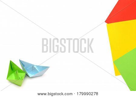 Blue and green paper boats, origami, paper sheets, color paper sheets