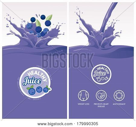 Drink menu with healthy blueberry juice splash fruit icons and badge