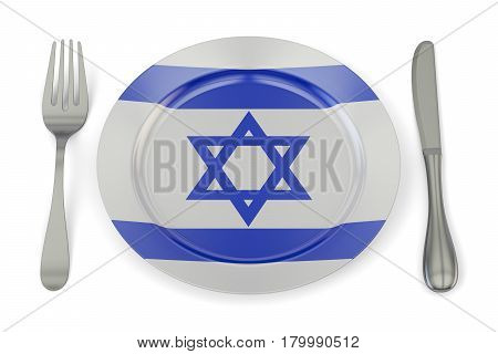Israeli cuisine concept plate with flag of Israel. 3D rendering