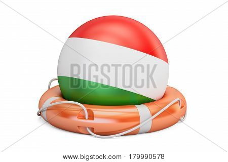 Lifebelt with Hungary flag safe help and protect concept. 3D rendering
